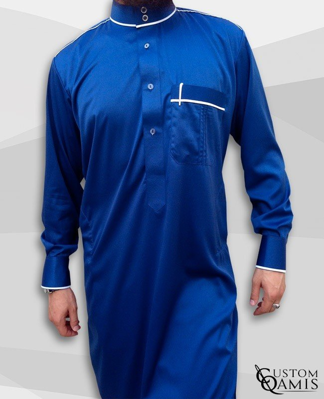 Kameez Trim Royal Blue & White Satin
