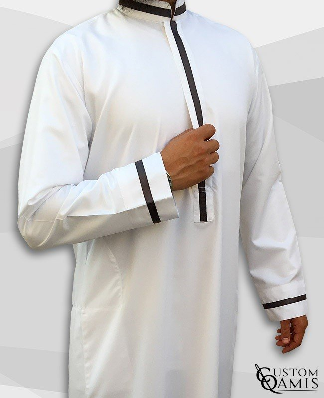 Kameez Trend white and anthracite gray ribbon