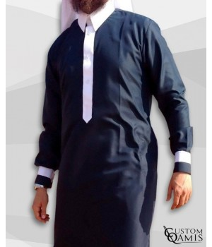 Kameez Two Tone blue Navy & White Satin