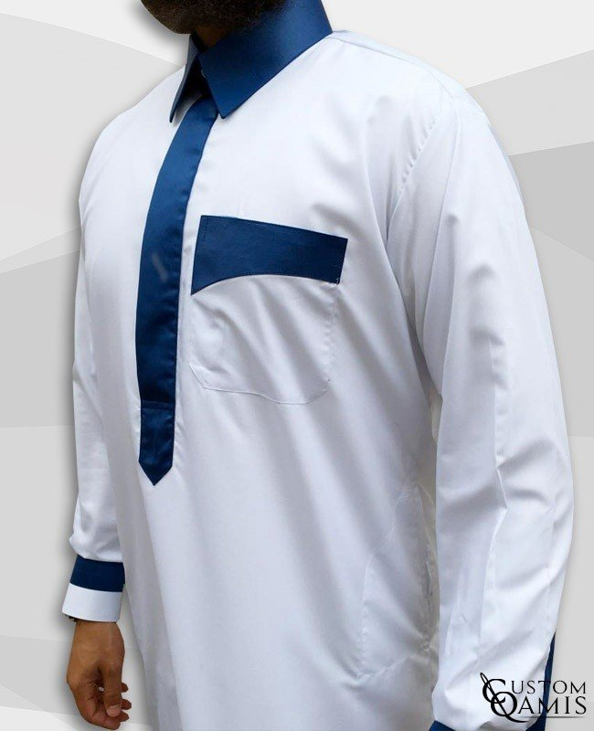 Kameez Two Tone White & Blue King Satin Qatari collar