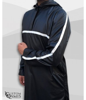Qamis Athletic Black Satin And White Ribbon