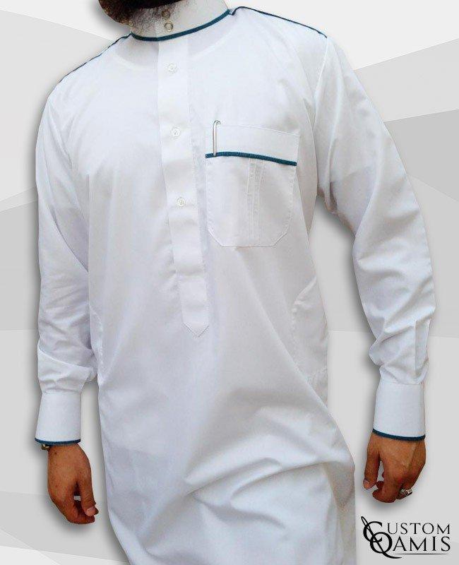 Qamis Trim Blanc et Vert bleuté Satinés
