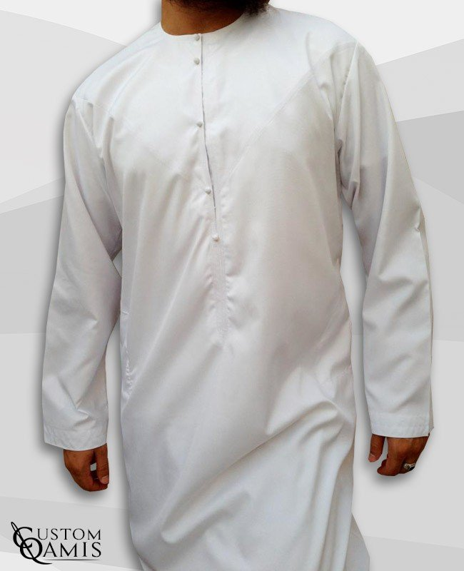 Emirati Kamees White with pressures Spring fabric