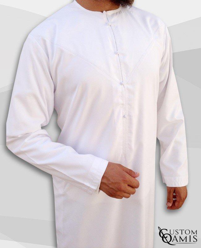 Qamis Emirati Blanc à lacets tissu Spring