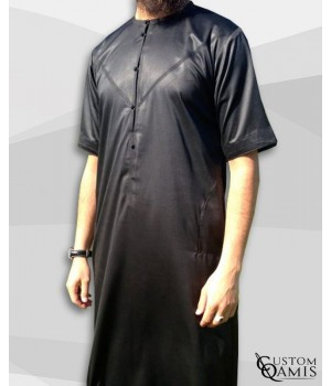 Emirati Kamees Black Satin with Short Sleeves