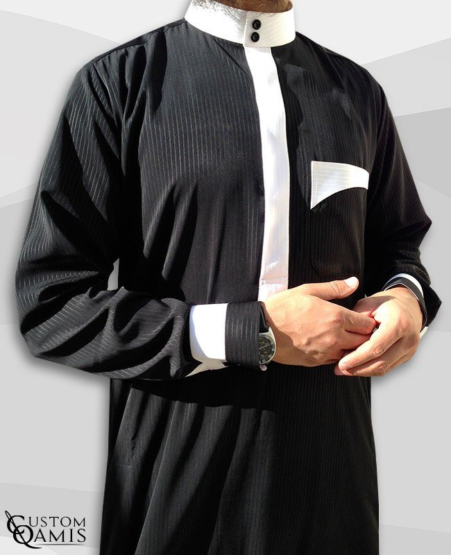 Qamis Two Tone noir et blanc rayés
