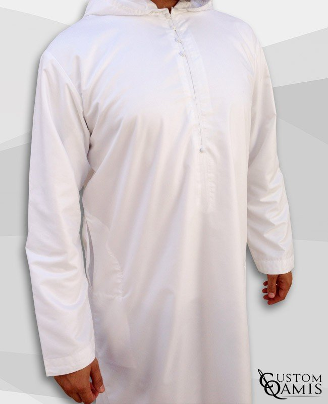 Djalabiya blanc satiné