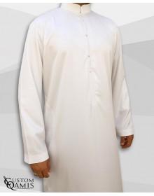 Qamis Emirati Tissu Precious Blanc Satiné Col Bahraini