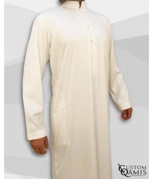 Emirati Kamees Cream Precious Satin Fabric Bahraini Collar