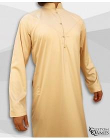 Emirati Kamees Beige Precious Satin Fabric Bahraini Collar