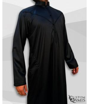 Emirati Kamees Black Precious Satin Fabric Bahraini Collar