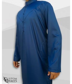Qamis Emirati Tissu Precious Bleu Roi Satiné Col Bahraini