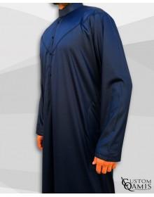 Qamis Emirati Tissu Precious Bleu Marine Satiné Col Bahraini