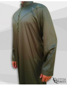 Emirati Kamees Khaki Green Precious Satin Fabric Bahraini Collar