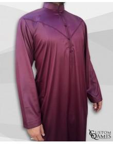 Emirati Kamees Burgundy Precious Satin Fabric Bahraini Collar