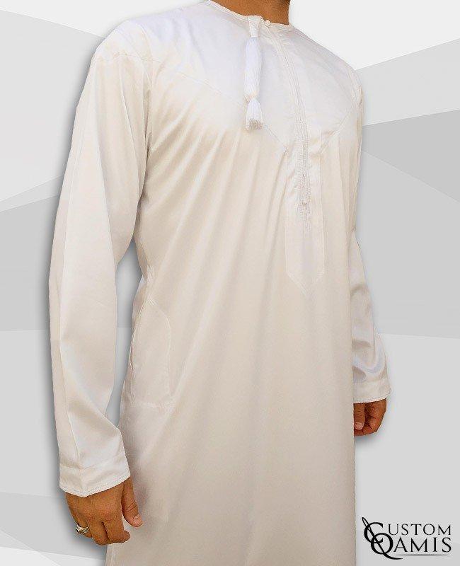 Kamees Omani White Precious Satin Fabric