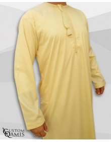 Kamees Omani Light Yellow Precious Satin Fabric