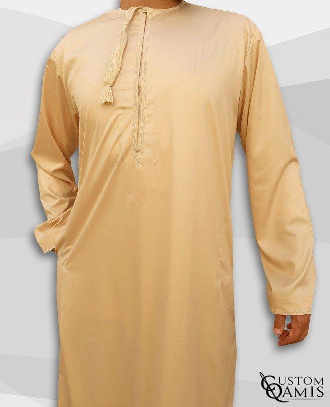 Qamis Omani Tissu Precious Beige Satiné