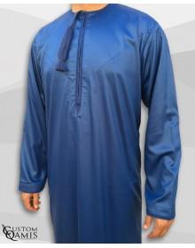 Qamis Omani Tissu Precious Bleu Roi Satiné