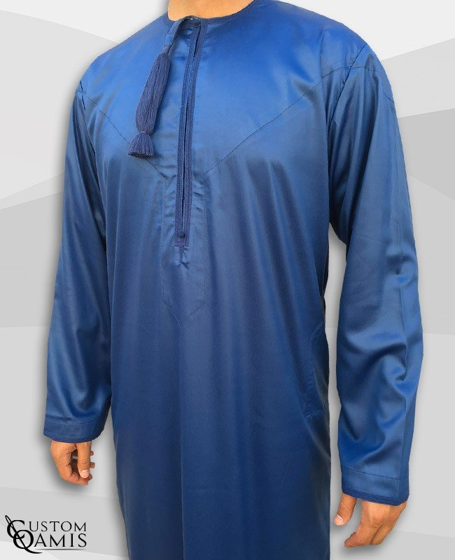 Kamees Omani Royal Blue Satin Fabric
