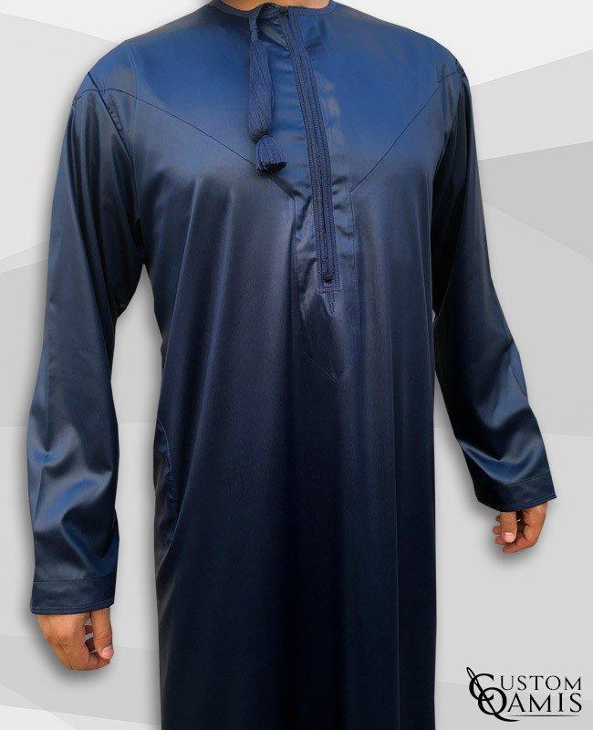Kamees Omani Navy Blue Satin Fabric