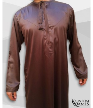 Kamees Omani Brown Satin Fabric