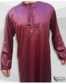 Kamees Omani Burgundy Satin Fabric
