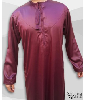 Kamees Omani Burgundy Satin Fabric