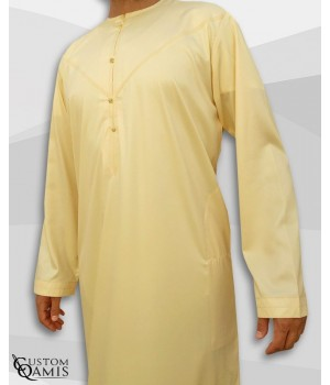 Emirati Kamees Light Yellow Precious Satin Fabric Without Collar