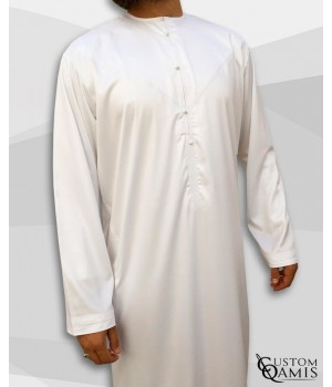 Qamis Emirati Tissu Precious Blanc Sans Col