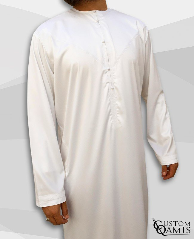 Emirati Kamees White Precious Satin Fabric Without Collar