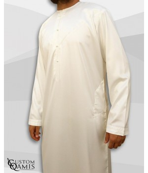 Emirati Kamees Cream Precious Satin Fabric Without Collar