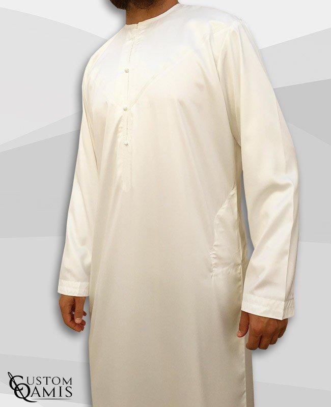 Emirati Kamees Cream Precious Satin Fabric Without Collar