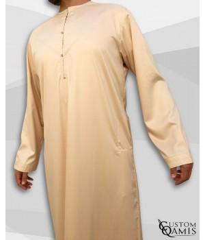 Qamis Emirati Tissu Precious Beige Sans Col