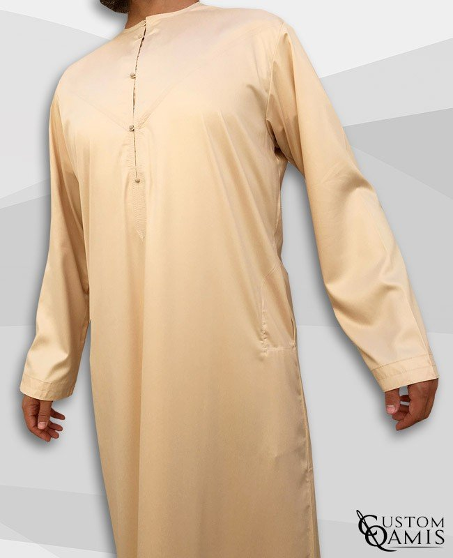 Emirati Kamees Beige Precious Satin Fabric Without Collar