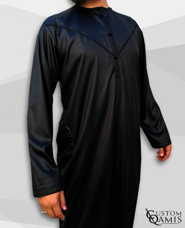 Emirati Kamees Black Precious Satin Fabric Without Collar