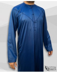 Qamis Emirati Tissu Precious Bleu Roi Sans Col