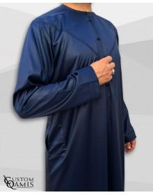 Qamis Emirati Tissu Precious Bleu Marine Sans Col