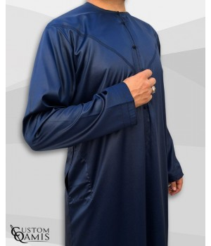 Emirati Kamees Navy Blue Precious Satin Fabric Without Collar