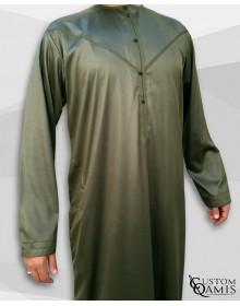 Qamis Emirati Tissu Precious Vert Kaki Sans Col