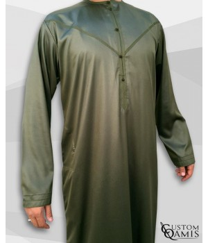 Emirati Kamees Khaki Green Precious Satin Fabric Without Collar