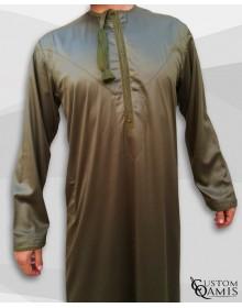 Qamis Omani Tissu Precious Vert Kaki Satiné