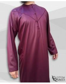 Qamis Emirati Tissu Precious Bordeaux Sans Col