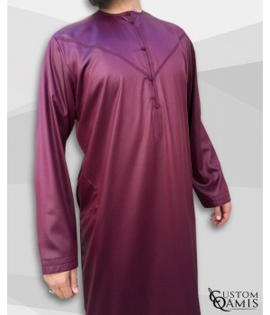 Emirati Kamees Burgundy Precious Satin Fabric Without Collar