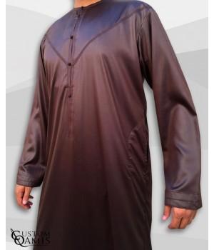 Emirati Kamees Brown Precious Satin Fabric Without Collar