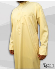 Kamees Kuwaiti Light Yellow Precious Satin Fabric