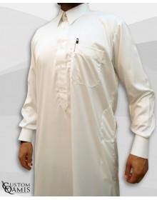 Kamees Qatari Light Yellow Precious Satin Fabric