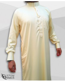 Saudi Kamees Light Yellow Precious Satin Fabric
