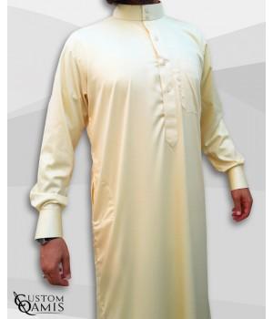 Saudi Kamees Light Yellow Precious Satin Fabric