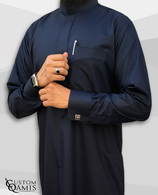 Kamees Saoudi Navy Blue Satin